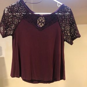 Size XS Attention Maroon Lace Top Blouse